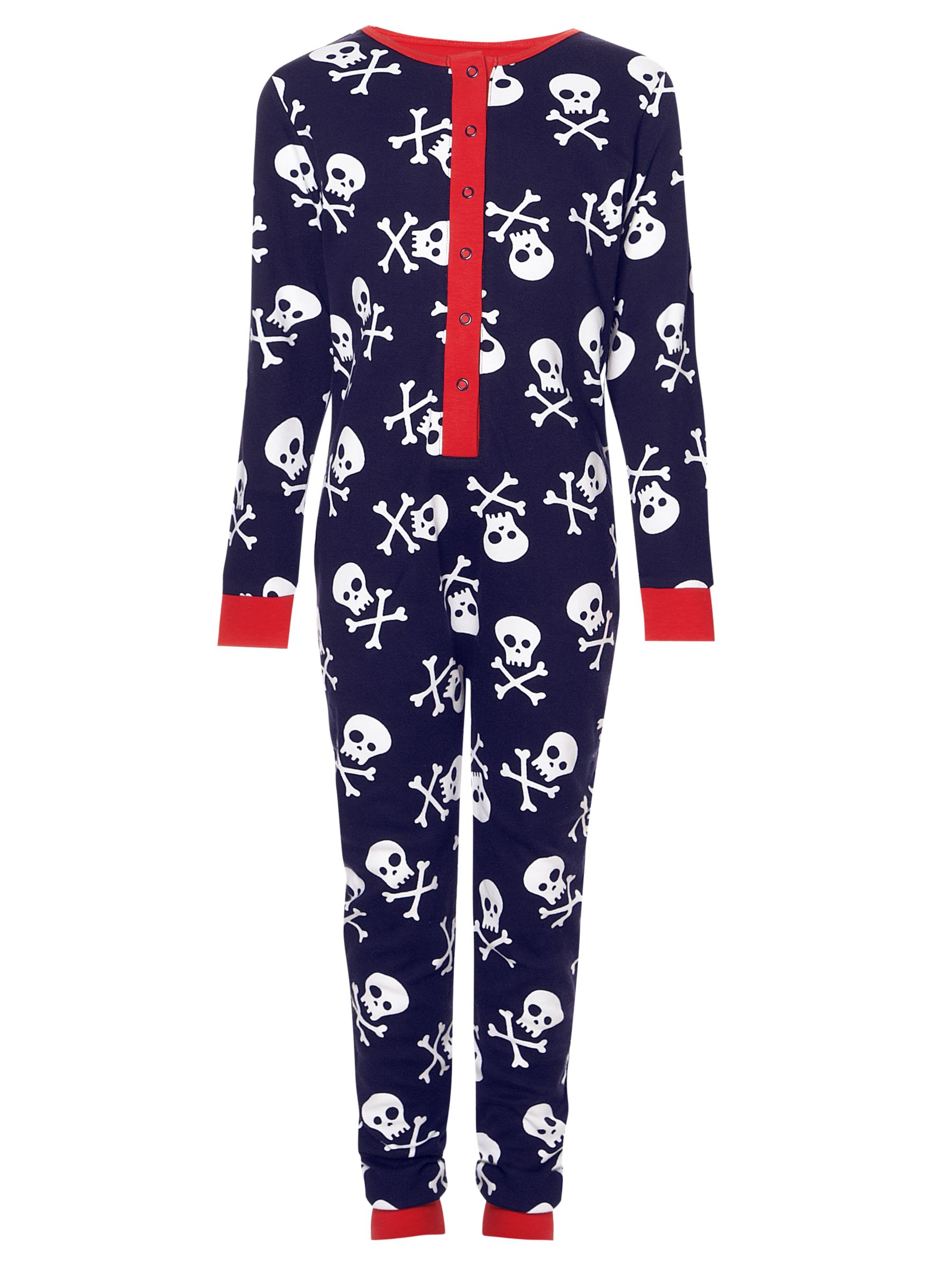 John Lewis Boy Skull and Crossbones Onesie, Navy/White