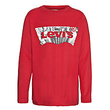 Buy Levi's Boys' Long Sleeve Tee Caps Top, Red Online at johnlewis.com