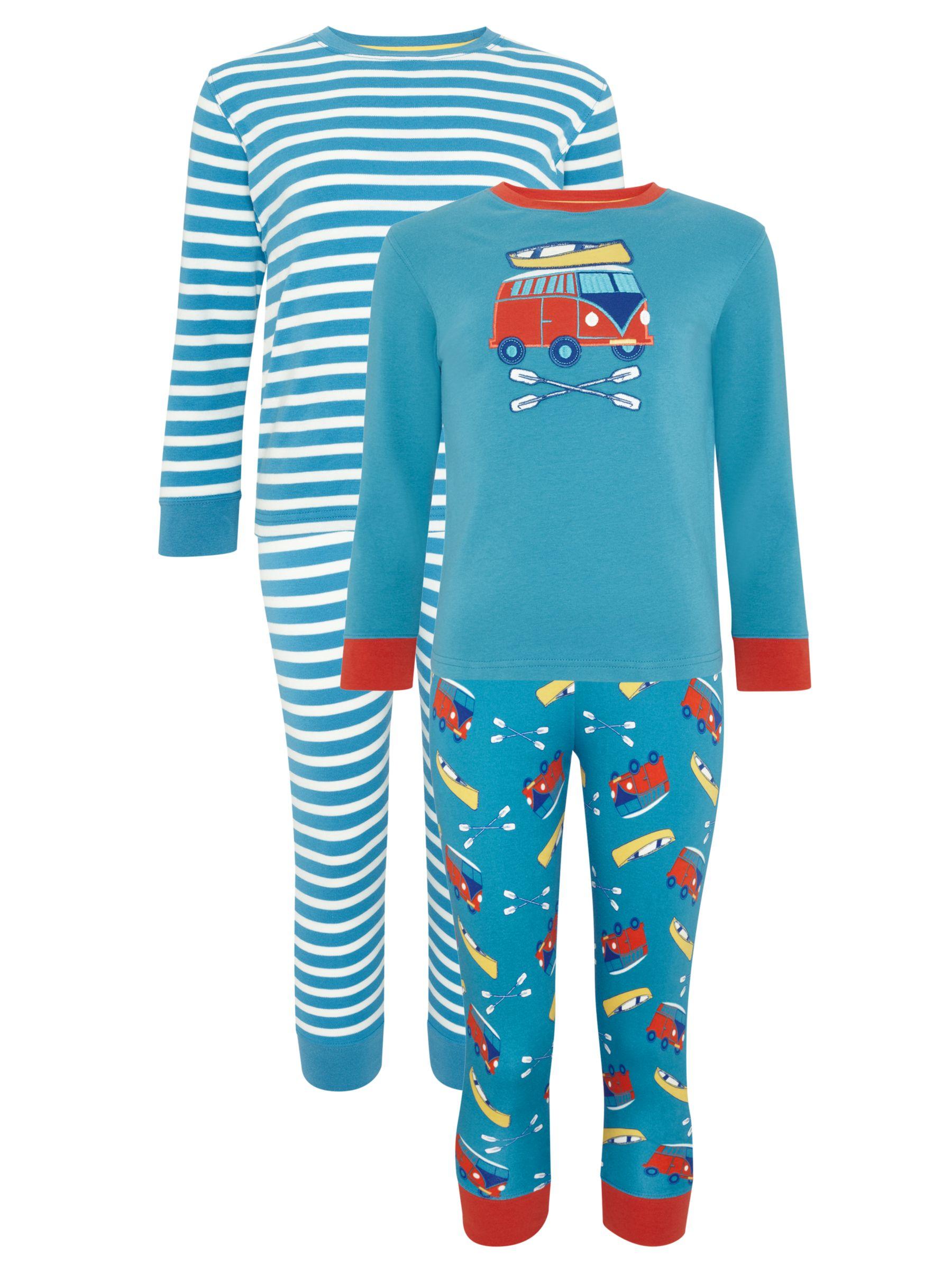John Lewis Boy Camper Van Print Pyjamas, Pack of 2, Blue/Red