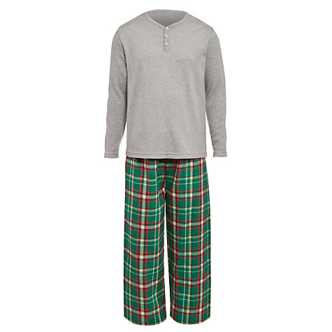 Buy John Lewis Boy Jersey and Check Pyjamas, Grey/Multi Online at johnlewis.com
