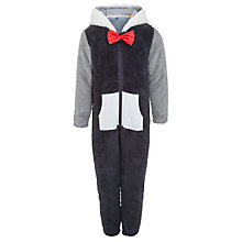 Buy John Lewis Boy Fleece Penguin Onesie, Grey Online at johnlewis.com