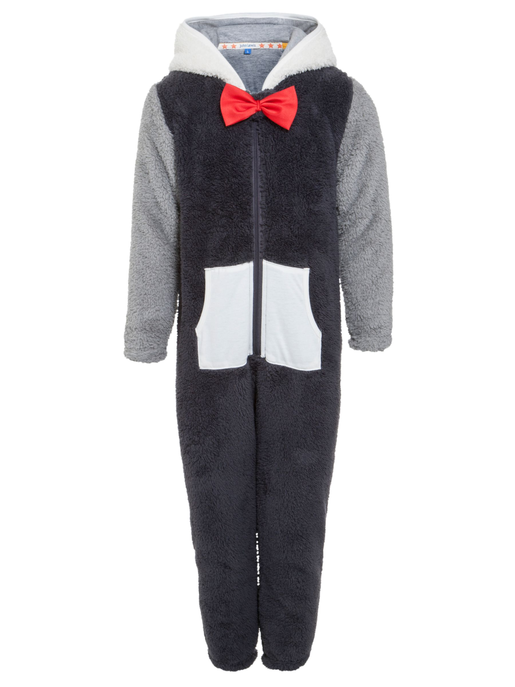 John Lewis Boy Fleece Penguin Onesie, Grey