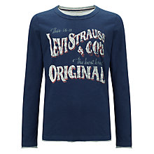 Buy Levi's Boys' Alec Long Sleeve Top, Navy Online at johnlewis.com