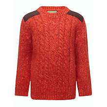 Buy John Lewis Boy Cable Knit Patch Jumper, Orange Online at johnlewis.com
