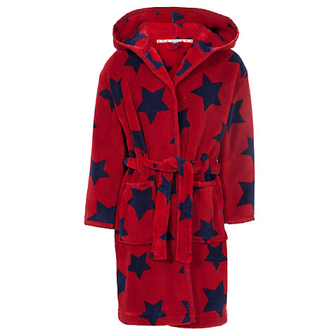 Buy John Lewis Boy Fleece Star Robe, Red/Navy Online at johnlewis.com