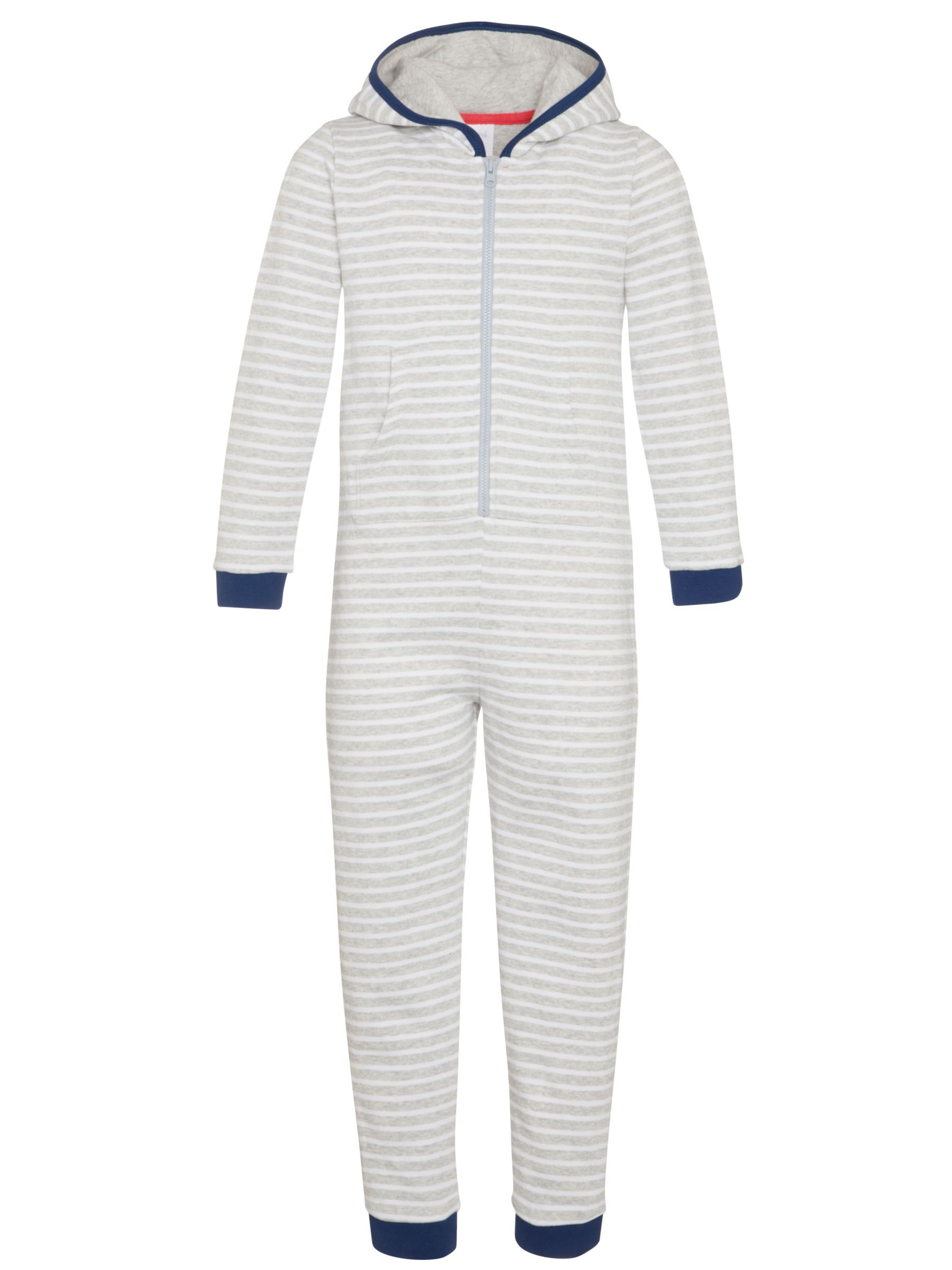 John Lewis Boy Striped Onesie, Grey
