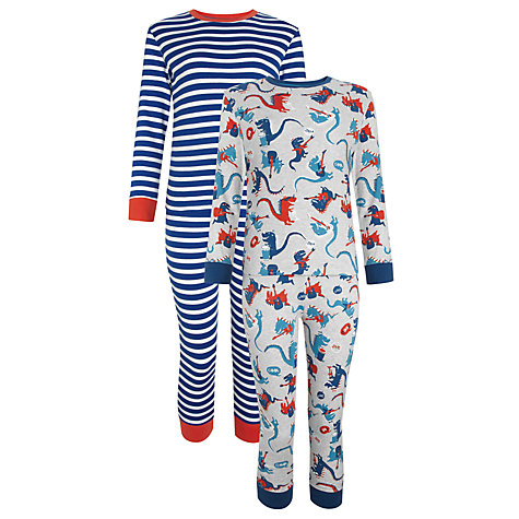 Buy John Lewis Boy Dinosaur and Striped Pyjamas, Pack of 2, Grey/Blue Online at johnlewis.com