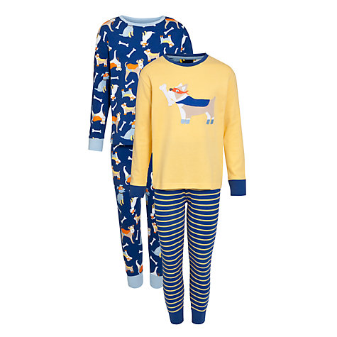 Buy John Lewis Boy Dog Print Pyjamas, Pack of 2, Multi Online at johnlewis.com
