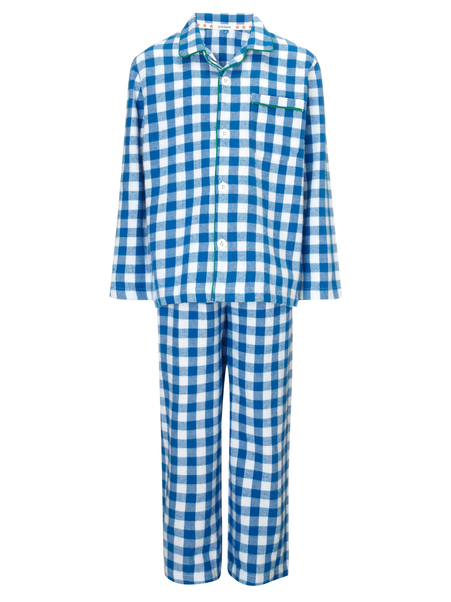 John Lewis Boy Gingham Pyjamas, Blue/Multi