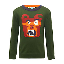 Buy John Lewis Boy Growling Bear Jumper, Green Online at johnlewis.com