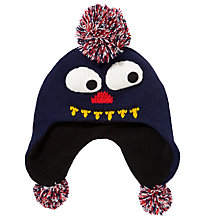 Buy John Lewis Boy Monster Trapper Hat, Navy Online at johnlewis.com