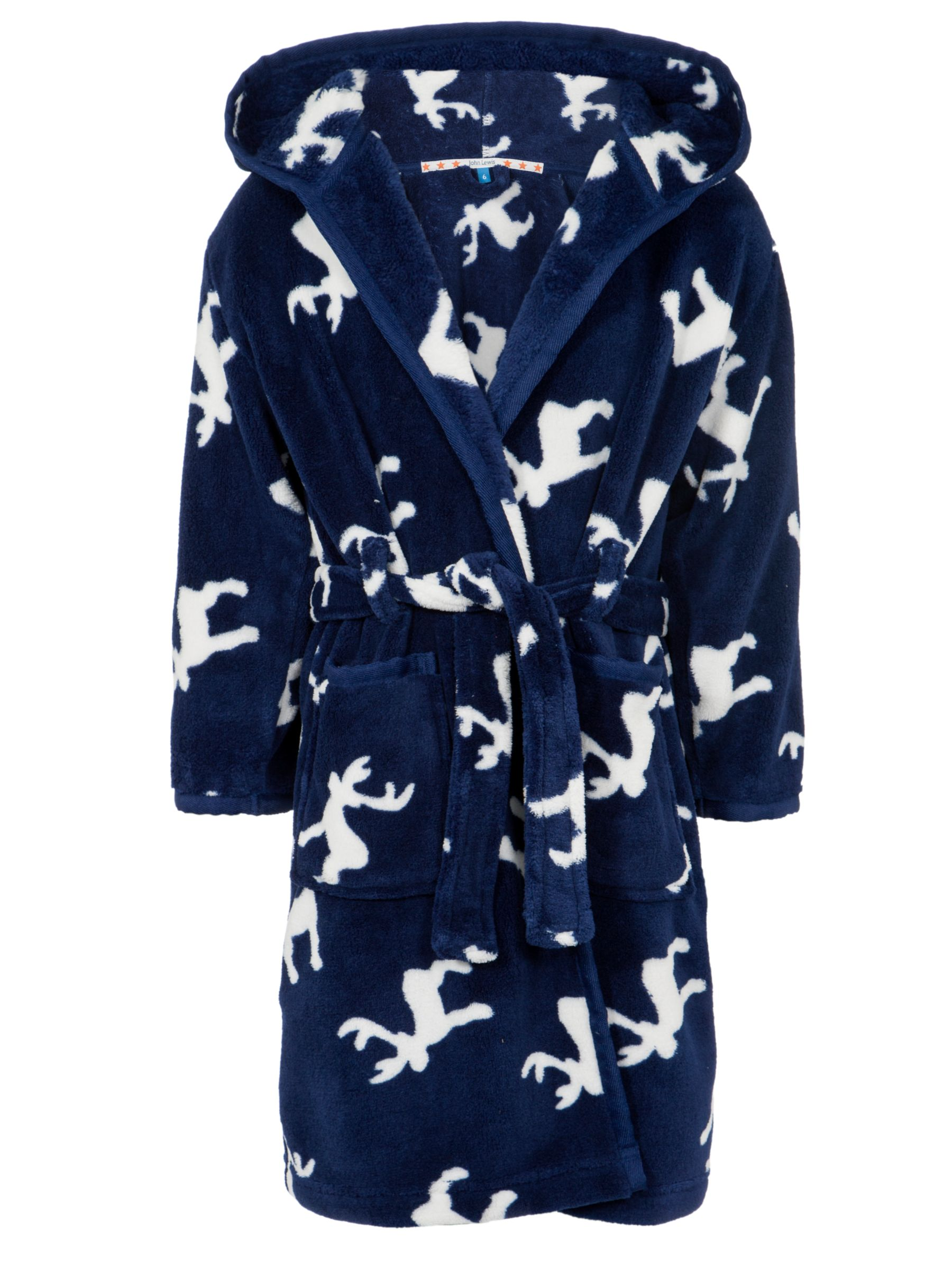 John Lewis Boy Reindeer Robe, Navy/Cream