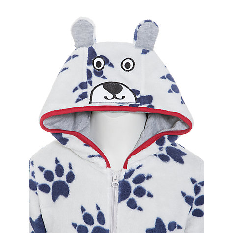 Buy John Lewis Bear Fleece Onesie, Grey/Blue Online at johnlewis.com