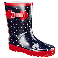 Buy John Lewis Girl Nautical Spot Wellington Boots, Navy Online at johnlewis.com