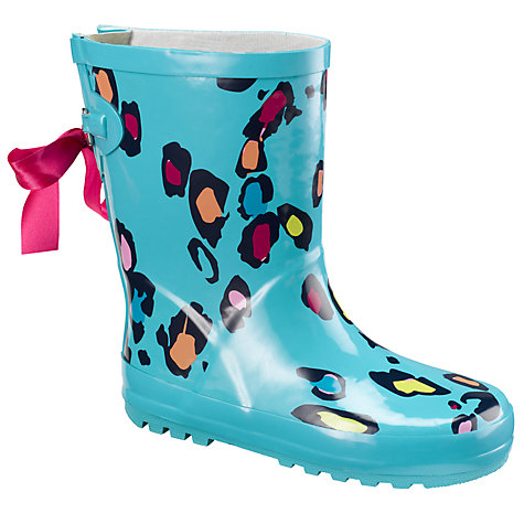 Buy John Lewis Girl Animal Print Wellington Boots, Blue/Multi Online at johnlewis.com