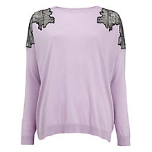 Buy Whistles Virginia Lace Insert Jumper, Lilac Online at johnlewis.com