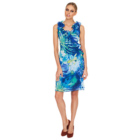 Buy James Lakeland Ruffle Neck Printed Dress, Blue Online at johnlewis.com