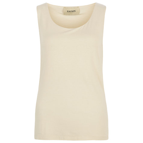 Buy Havren Round Neck Top, Cream Online at johnlewis.com