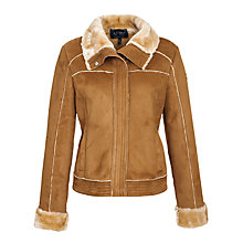 Buy Armani Jeans Faux Shearling Jacket, Camel Online at johnlewis.com