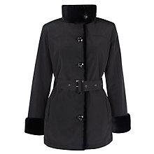 Buy John Lewis Fur Lined Belted Mac, Black Online at johnlewis.com