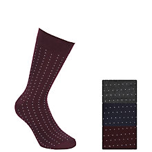 Buy John Lewis Pindot Cotton Mix Socks, Pack of 3 Online at johnlewis.com