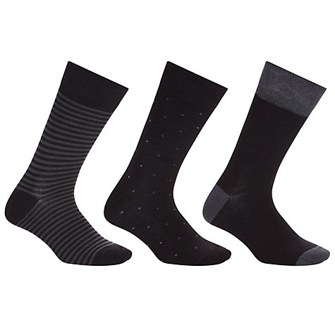 Buy John Lewis Bamboo and Cotton Pattern Socks, Pack of 3, Black Online at johnlewis.com