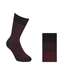 Buy John Lewis Bamboo and Cotton Pattern Socks, Pack of 3, Burgundy Online at johnlewis.com