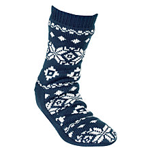 Buy John Lewis Fair Isle Slipper Socks, Navy Online at johnlewis.com