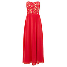 Buy Oasis Laced Bodice Prom Dress, Deep Pink Online at johnlewis.com