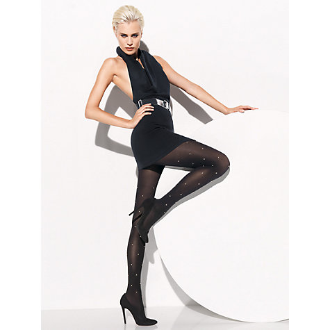 Buy Wolford Ronda Stud Tights, Black Online at johnlewis.com