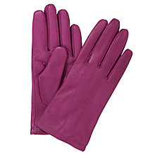 Buy John Lewis Fleece Lined Leather Gloves, Pink Online at johnlewis.com