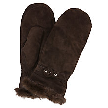 Buy John Lewis Fur Trim Suede Mittens Online at johnlewis.com