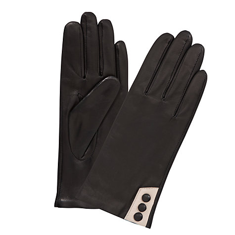 Buy John Lewis Contrast Button Leather Gloves Online at johnlewis.com