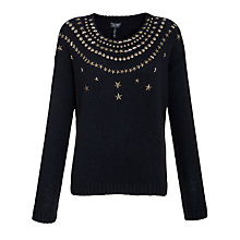 Buy Armani Jeans Star Stud Jumper, Navy Online at johnlewis.com