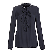 Buy Armani Jeans Ruffle Jersey Back Shirt, Navy Online at johnlewis.com