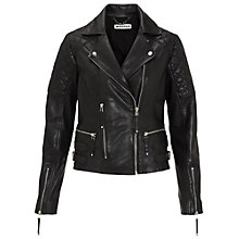 Buy Whistles Brando Biker Jacket, Black Online at johnlewis.com