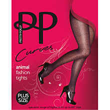 Buy Pretty Polly Curves Animal Print Fashion Tights, Black Online at johnlewis.com