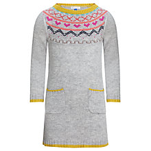 Buy John Lewis Girl Fair Isle Knitted Dress, Grey Online at johnlewis.com
