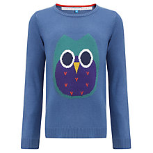 Buy John Lewis Girl Owl Jumper, Blue Online at johnlewis.com