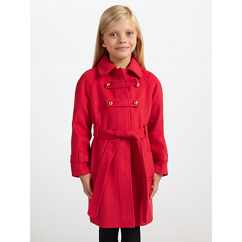 Buy John Lewis Girl Military Style Coat, Red Online at johnlewis.com