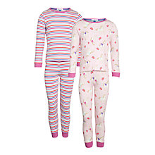 Buy John Lewis Girl Horses And Stripes Pyjamas, Pack of 2, Pink Online at johnlewis.com