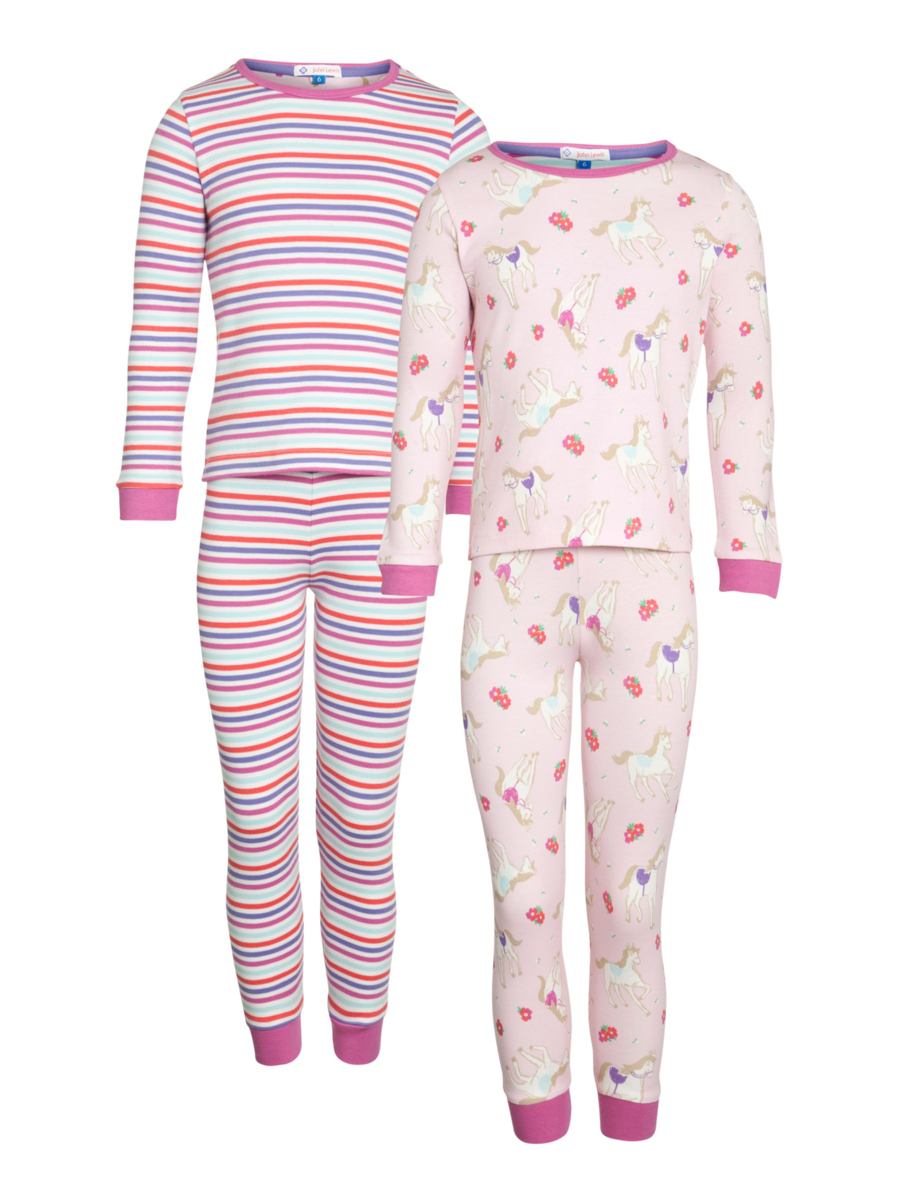 John Lewis Girl Horses And Stripes Pyjamas, Pack of 2, Pink