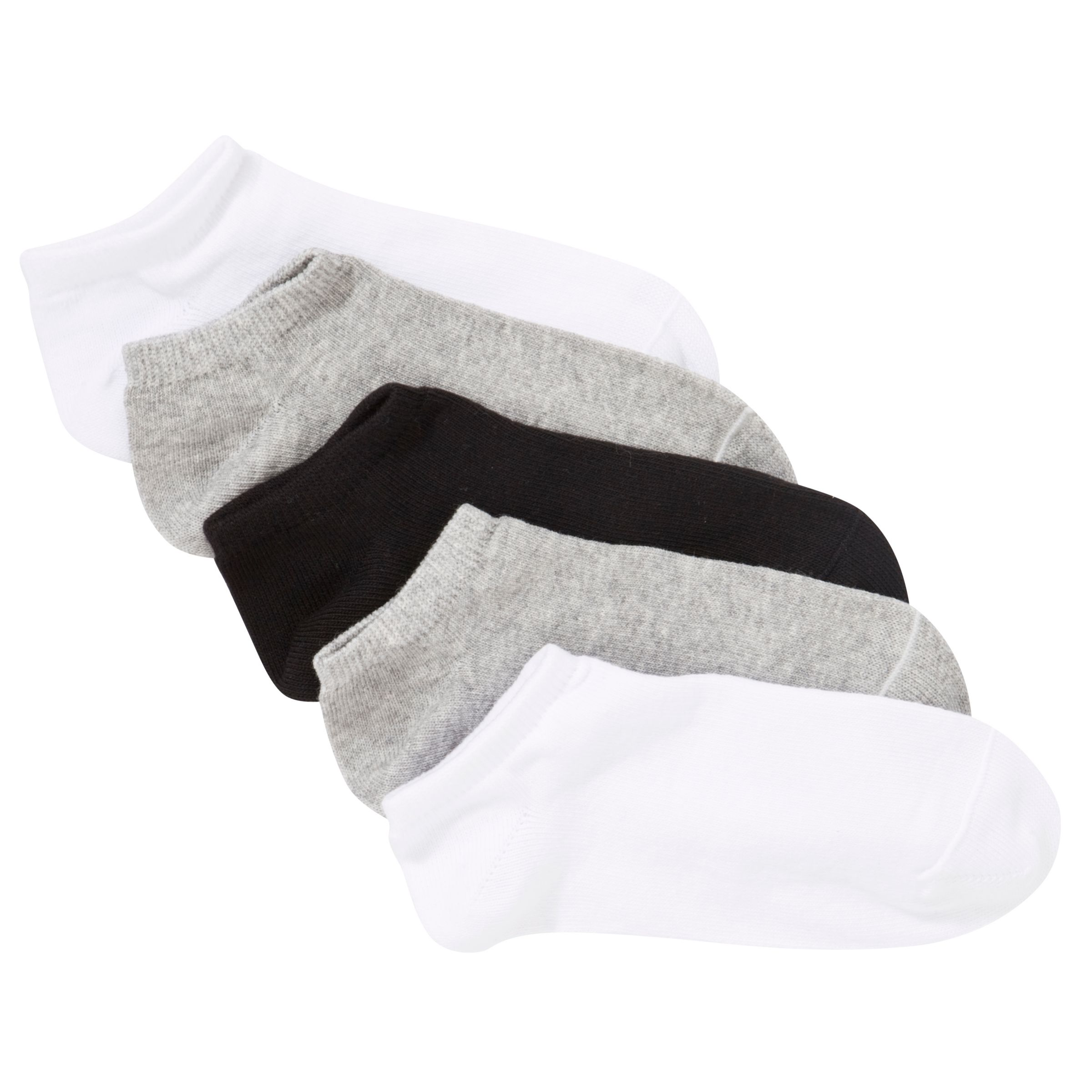 John Lewis Girl Trainer Socks, Pack of 5, Multi