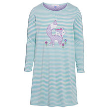 Buy John Lewis Girl Fox Striped Long Sleeve Nightdress, Blue/White Online at johnlewis.com