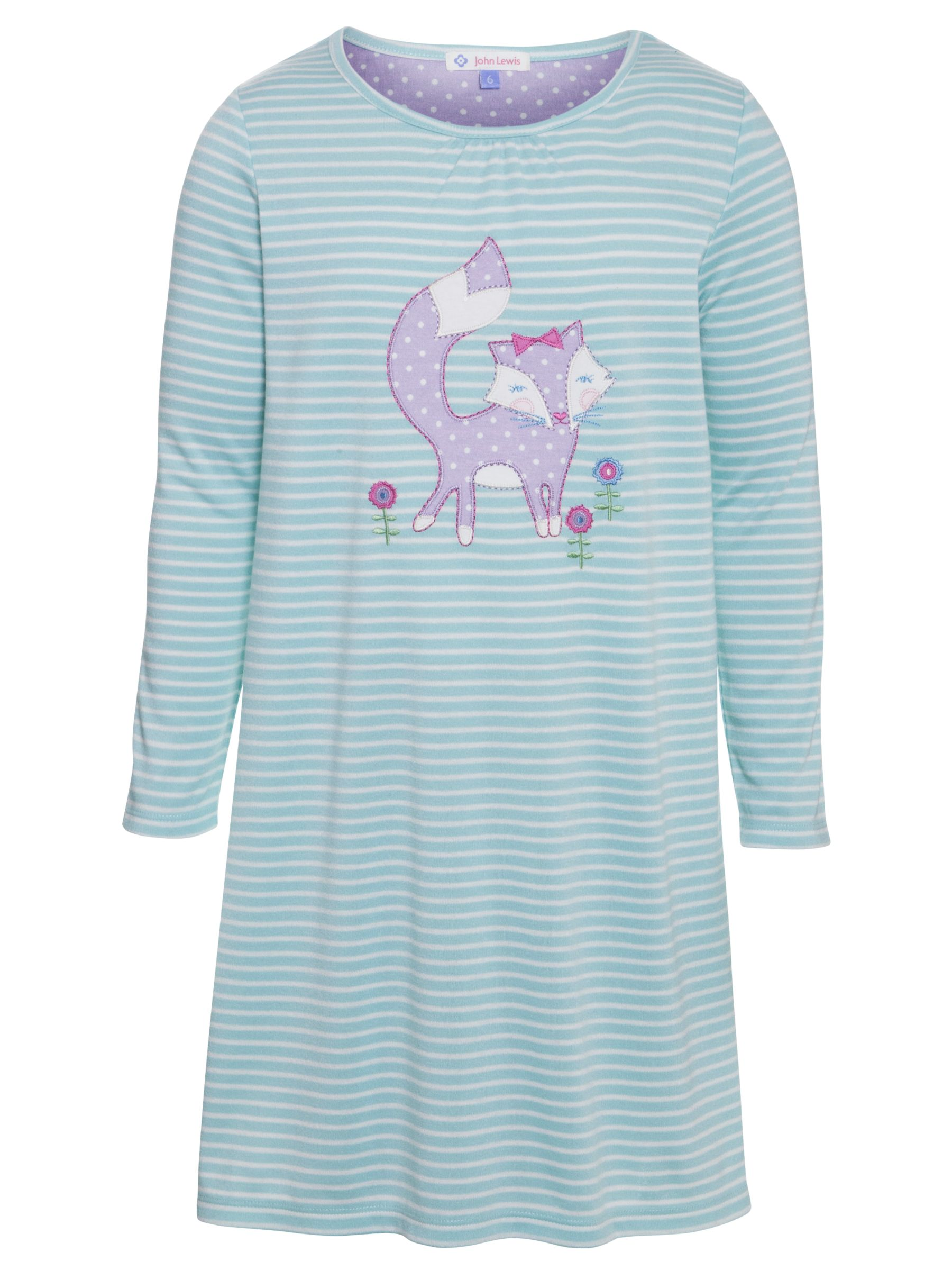 John Lewis Girl Fox Striped Long Sleeve Nightdress, Blue/White
