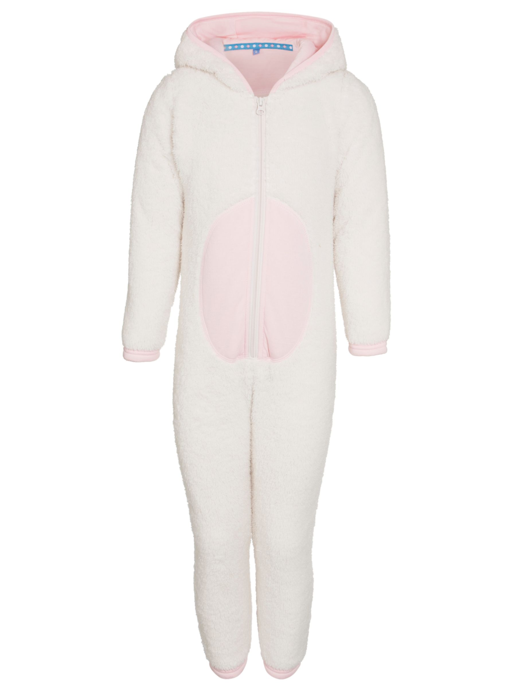 John Lewis Girl Rabbit Fleece Onesie, Cream