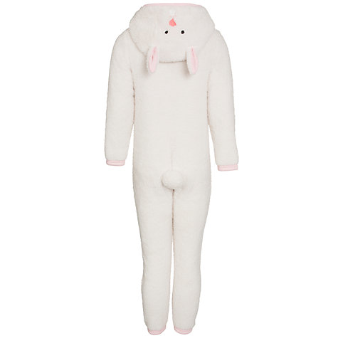 Buy John Lewis Girl Rabbit Fleece Onesie, Cream Online at johnlewis.com