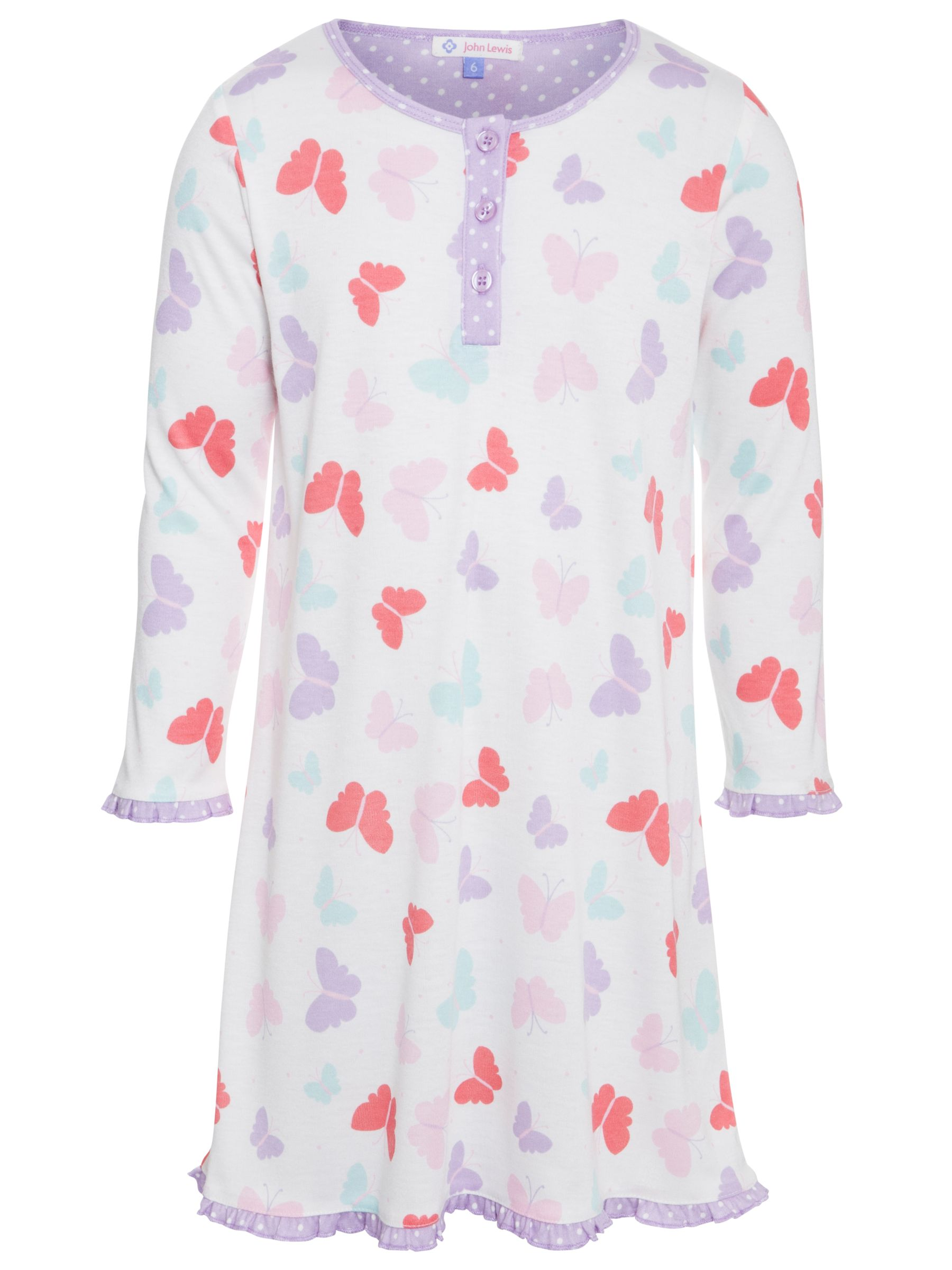 John Lewis Girl Butterfly Button Front Long Sleeve Nightdress, White/Purple