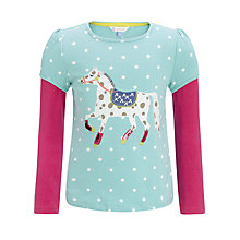 Buy John Lewis Girl Long Sleeved Polka Dot Horse Top, Blue/Pink Online at johnlewis.com
