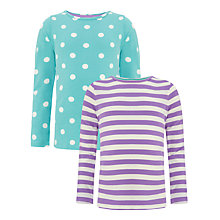 Buy John Lewis Girl Spotted and Striped Long Sleeve T-Shirt, Pack of 2, Aqua/Lilac Online at johnlewis.com